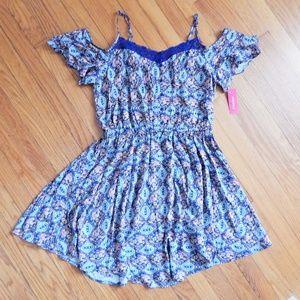 Xhilaration Blue Printed Summer Dress Sz XL NWT